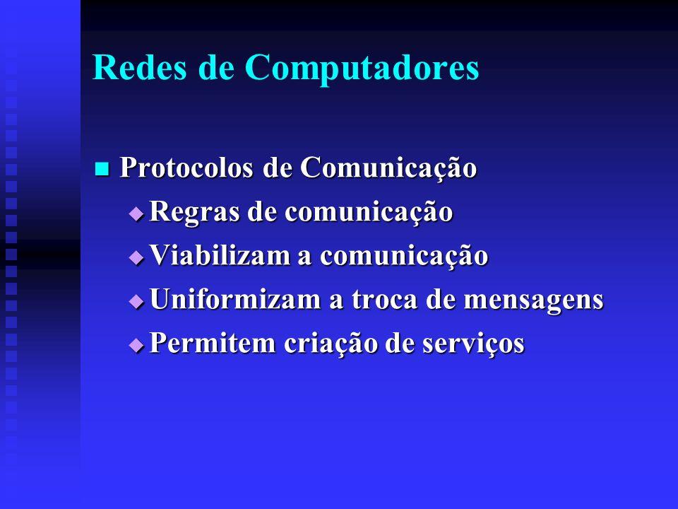 Redes de Computadores Protocolos de Comunicação Protocolos de Comunicação Regras de comunicação Regras de comunicação Viabilizam a comunicação Viabilizam a comunicação Uniformizam a troca de mensagens Uniformizam a troca de mensagens Permitem criação de serviços Permitem criação de serviços