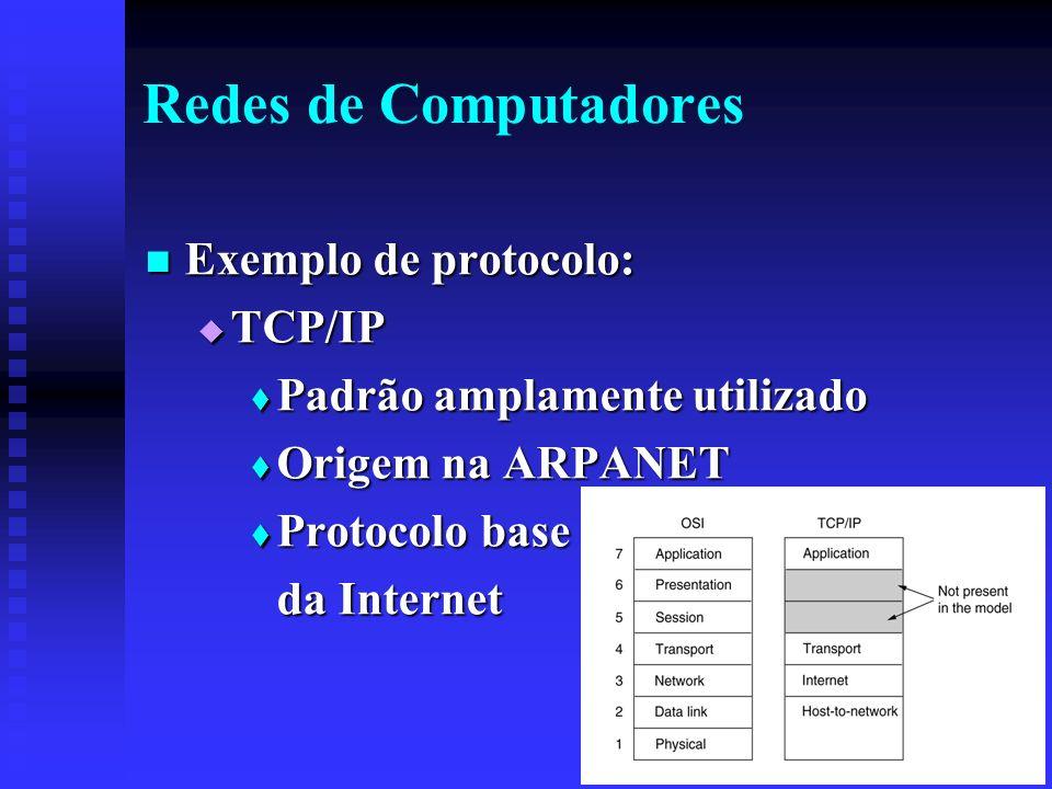 Redes de Computadores Exemplo de protocolo: Exemplo de protocolo: TCP/IP TCP/IP Padrão amplamente utilizado Padrão amplamente utilizado Origem na ARPANET Origem na ARPANET Protocolo base Protocolo base da Internet