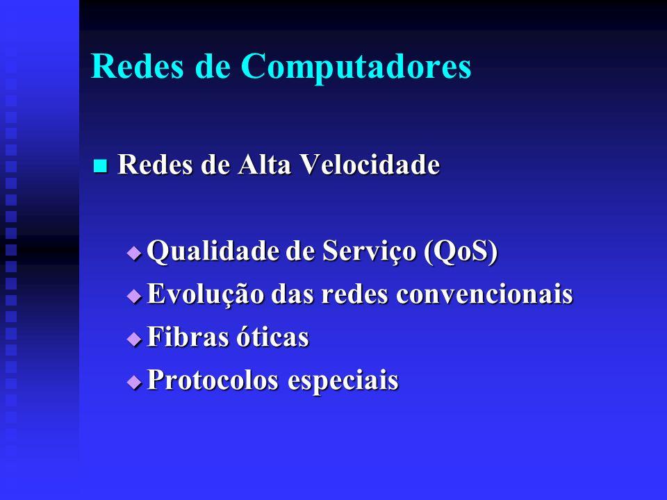 Redes de Computadores Redes de Alta Velocidade Redes de Alta Velocidade Qualidade de Serviço (QoS) Qualidade de Serviço (QoS) Evolução das redes convencionais Evolução das redes convencionais Fibras óticas Fibras óticas Protocolos especiais Protocolos especiais