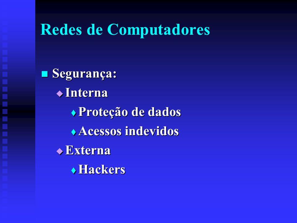 Redes de Computadores Segurança: Segurança: Interna Interna Proteção de dados Proteção de dados Acessos indevidos Acessos indevidos Externa Externa Hackers Hackers