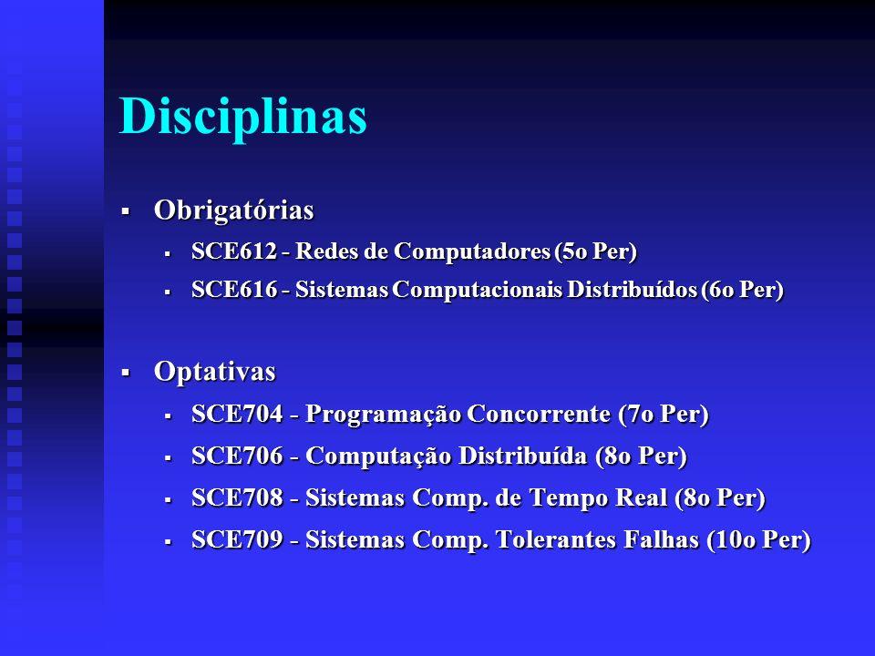 Disciplinas Obrigatórias Obrigatórias SCE612 - Redes de Computadores (5o Per) SCE612 - Redes de Computadores (5o Per) SCE616 - Sistemas Computacionais Distribuídos (6o Per) SCE616 - Sistemas Computacionais Distribuídos (6o Per) Optativas Optativas SCE704 - Programação Concorrente (7o Per) SCE704 - Programação Concorrente (7o Per) SCE706 - Computação Distribuída (8o Per) SCE706 - Computação Distribuída (8o Per) SCE708 - Sistemas Comp.