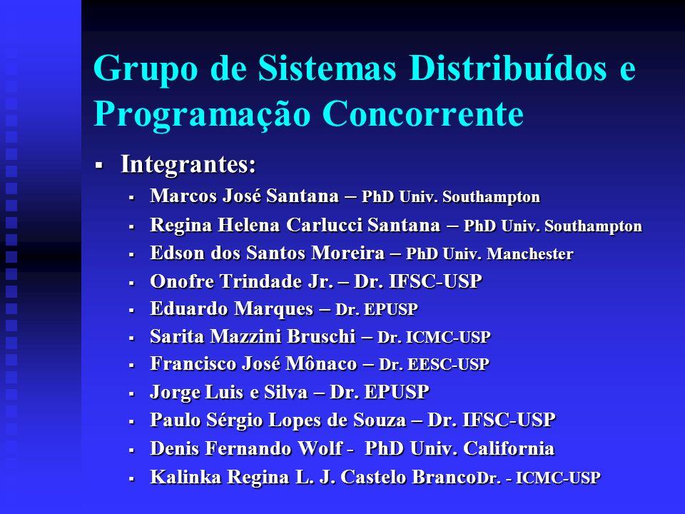 Grupo de Sistemas Distribuídos e Programação Concorrente Integrantes: Integrantes: Marcos José Santana – PhD Univ. Southampton Marcos José Santana – P