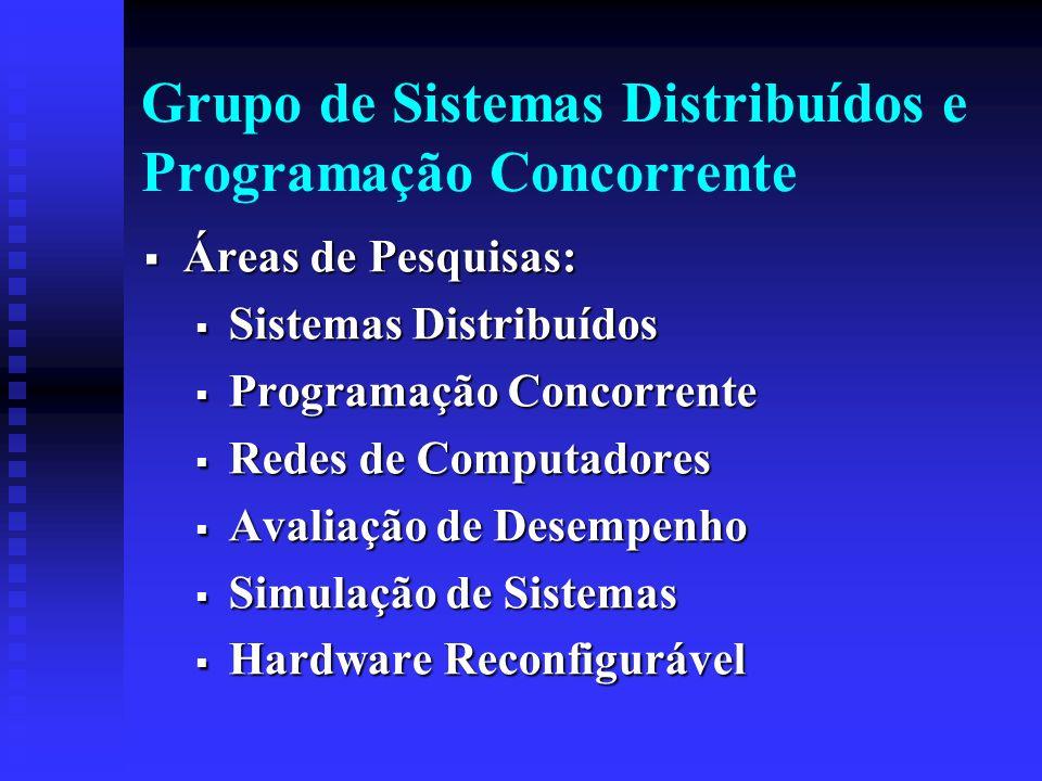 Grupo de Sistemas Distribuídos e Programação Concorrente Áreas de Pesquisas: Áreas de Pesquisas: Sistemas Distribuídos Sistemas Distribuídos Programação Concorrente Programação Concorrente Redes de Computadores Redes de Computadores Avaliação de Desempenho Avaliação de Desempenho Simulação de Sistemas Simulação de Sistemas Hardware Reconfigurável Hardware Reconfigurável