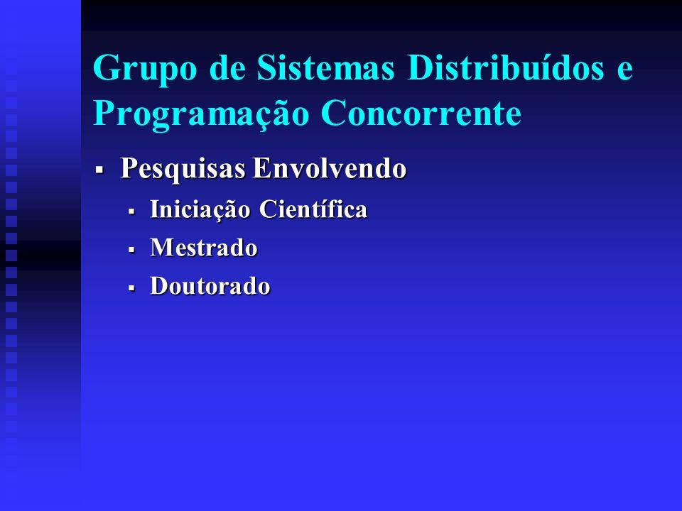 Grupo de Sistemas Distribuídos e Programação Concorrente Pesquisas Envolvendo Pesquisas Envolvendo Iniciação Científica Iniciação Científica Mestrado Mestrado Doutorado Doutorado