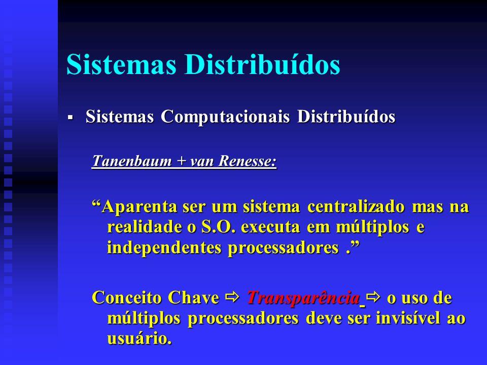 Sistemas Distribuídos Sistemas Computacionais Distribuídos Sistemas Computacionais Distribuídos Tanenbaum + van Renesse: Aparenta ser um sistema centralizado mas na realidade o S.O.