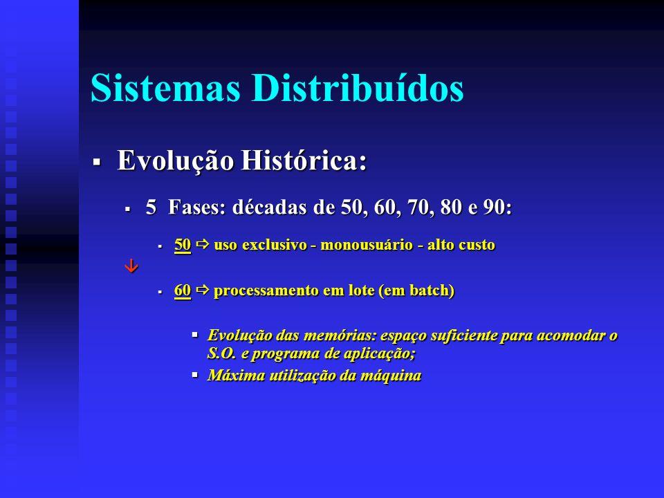 Sistemas Distribuídos Evolução Histórica: Evolução Histórica: 5 Fases: décadas de 50, 60, 70, 80 e 90: 5 Fases: décadas de 50, 60, 70, 80 e 90: 50 uso exclusivo - monousuário - alto custo 50 uso exclusivo - monousuário - alto custo 60 processamento em lote (em batch) 60 processamento em lote (em batch) Evolução das memórias: espaço suficiente para acomodar o S.O.