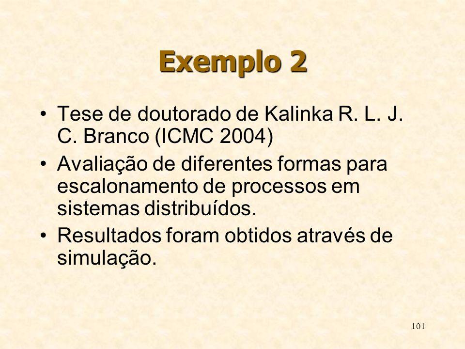101 Exemplo 2 Tese de doutorado de Kalinka R. L. J. C. Branco (ICMC 2004) Avaliação de diferentes formas para escalonamento de processos em sistemas d