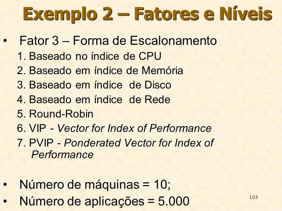 103 Exemplo 2 – Fatores e Níveis Fator 3 – Forma de Escalonamento 1. Baseado no índice de CPU 2. Baseado em índice de Memória 3. Baseado em índice de