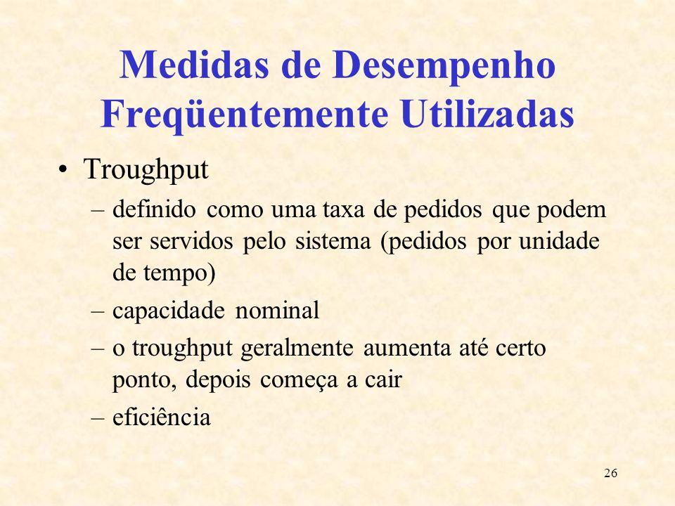 26 Medidas de Desempenho Freqüentemente Utilizadas Troughput –definido como uma taxa de pedidos que podem ser servidos pelo sistema (pedidos por unida