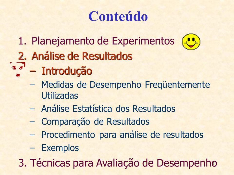 3 Conteúdo 1.Planejamento de Experimentos 2.Análise de Resultados –Introdução –Medidas de Desempenho Freqüentemente Utilizadas –Análise Estatística do