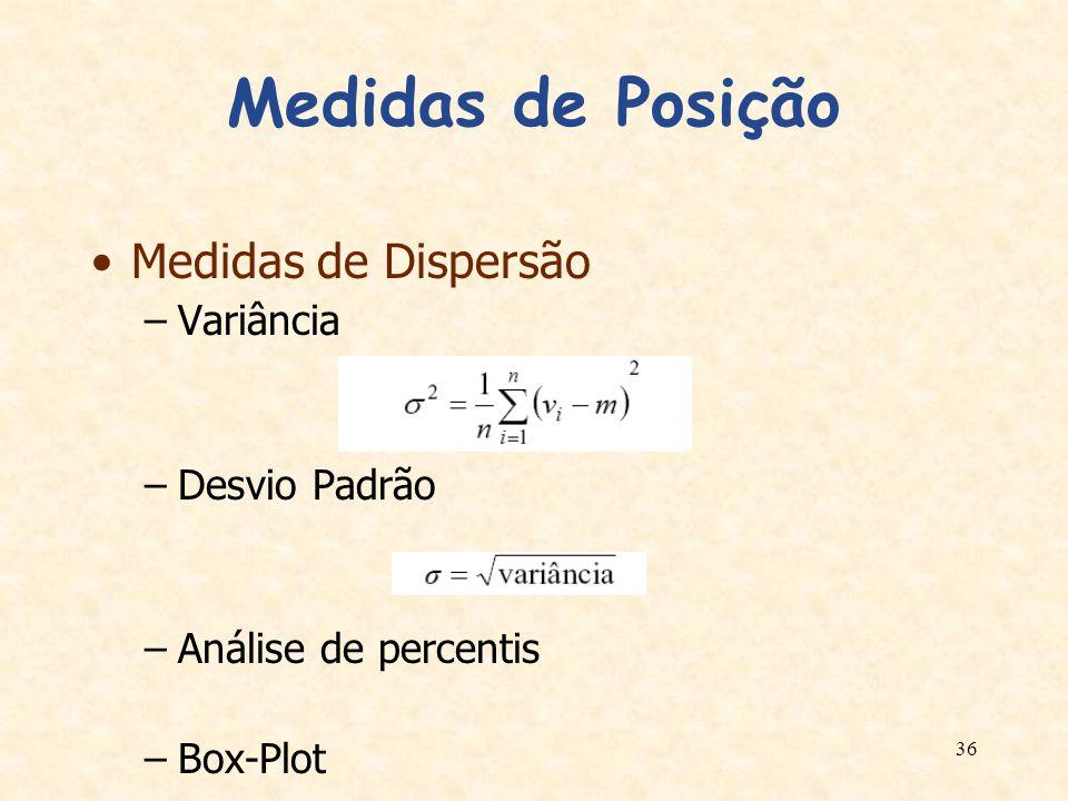 36 Medidas de Posição Medidas de Dispersão –Variância –Desvio Padrão –Análise de percentis –Box-Plot