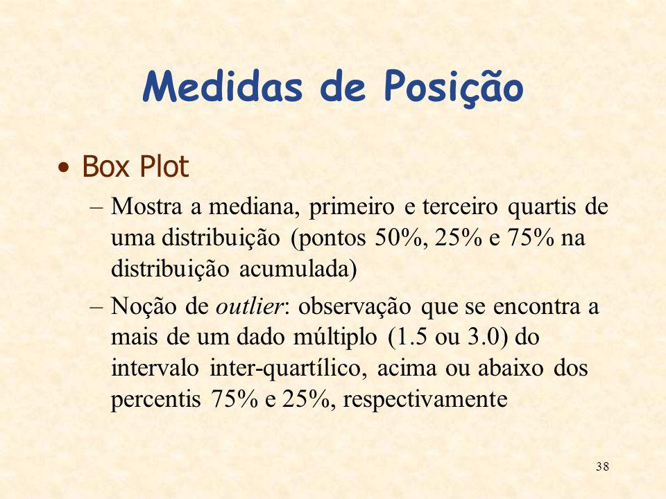 38 Medidas de Posição Box Plot –Mostra a mediana, primeiro e terceiro quartis de uma distribuição (pontos 50%, 25% e 75% na distribuição acumulada) –N