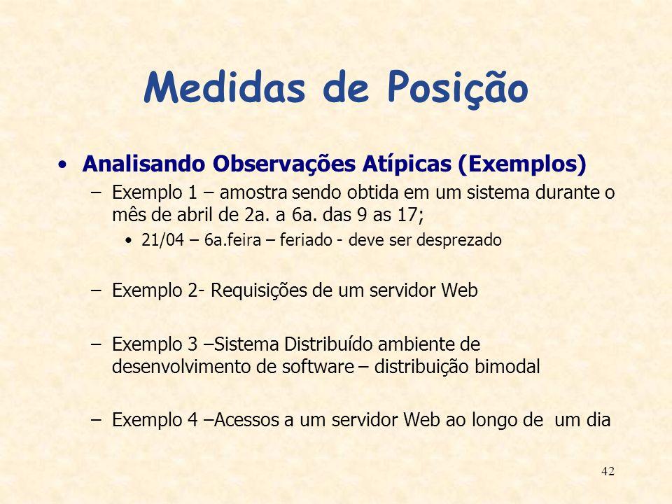 42 Medidas de Posição Analisando Observações Atípicas (Exemplos) –Exemplo 1 – amostra sendo obtida em um sistema durante o mês de abril de 2a. a 6a. d