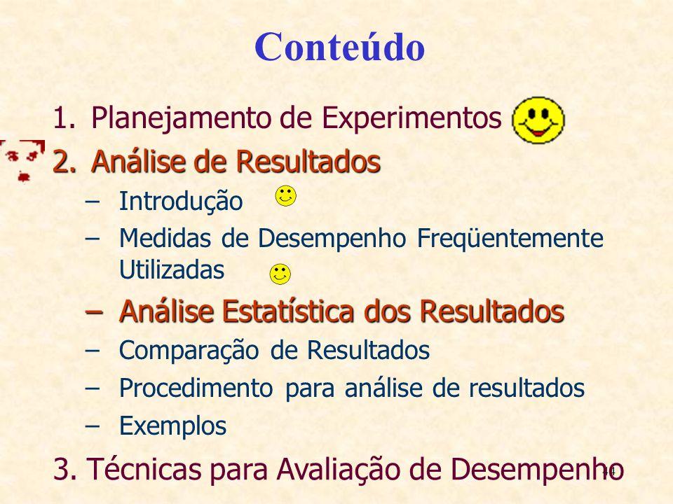 44 Conteúdo 1.Planejamento de Experimentos 2.Análise de Resultados –Introdução –Medidas de Desempenho Freqüentemente Utilizadas –Análise Estatística d