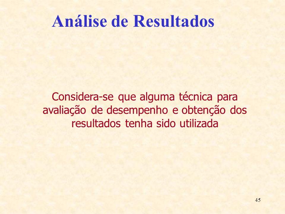 45 Análise de Resultados Considera-se que alguma técnica para avaliação de desempenho e obtenção dos resultados tenha sido utilizada