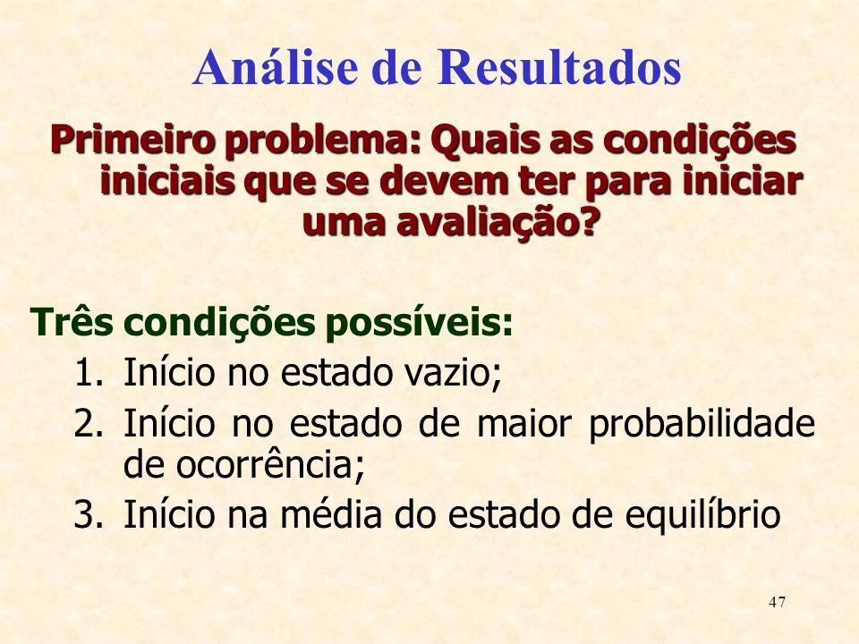 47 Análise de Resultados Primeiro problema: Quais as condições iniciais que se devem ter para iniciar uma avaliação? Três condições possíveis: 1.Iníci