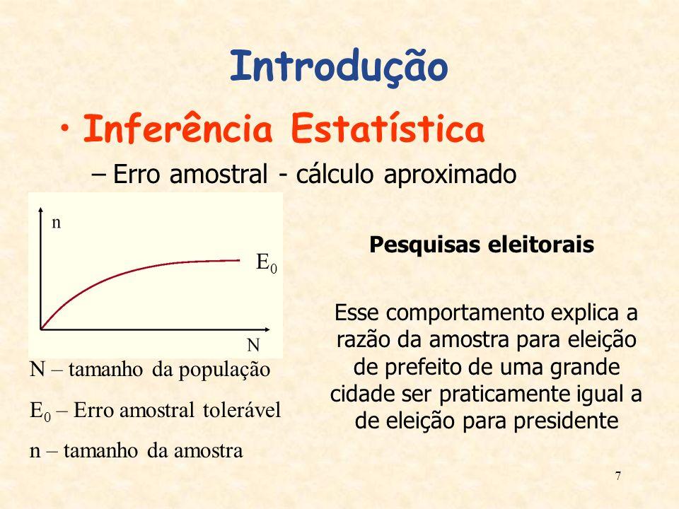 7 Introdução Inferência Estatística –Erro amostral - cálculo aproximado N – tamanho da população E 0 – Erro amostral tolerável n – tamanho da amostra