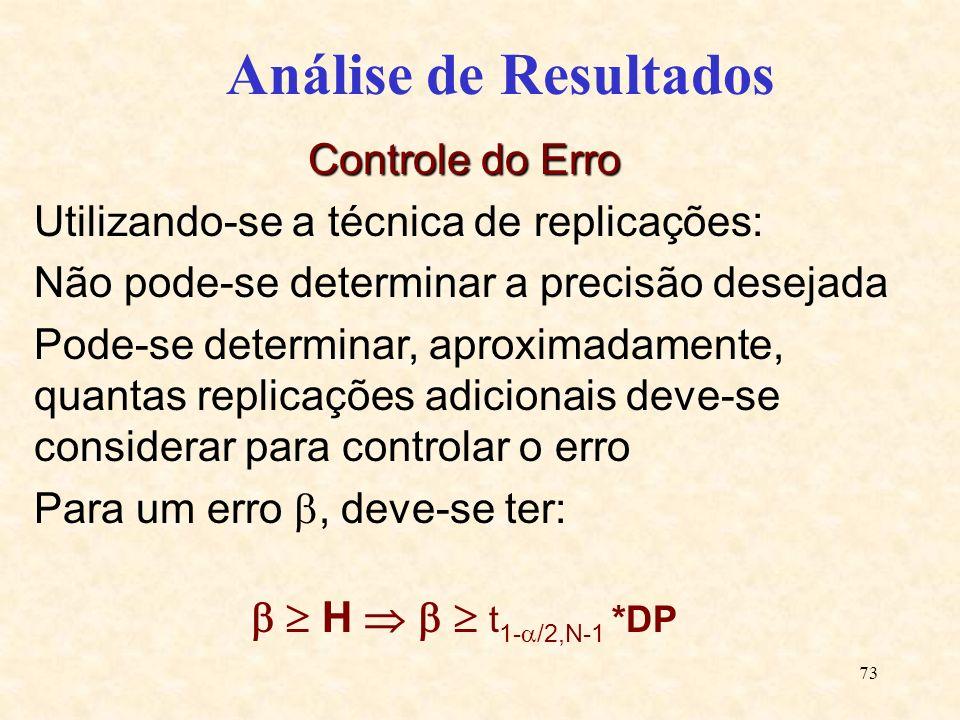 73 Análise de Resultados Controle do Erro Utilizando-se a técnica de replicações: Não pode-se determinar a precisão desejada Pode-se determinar, aprox