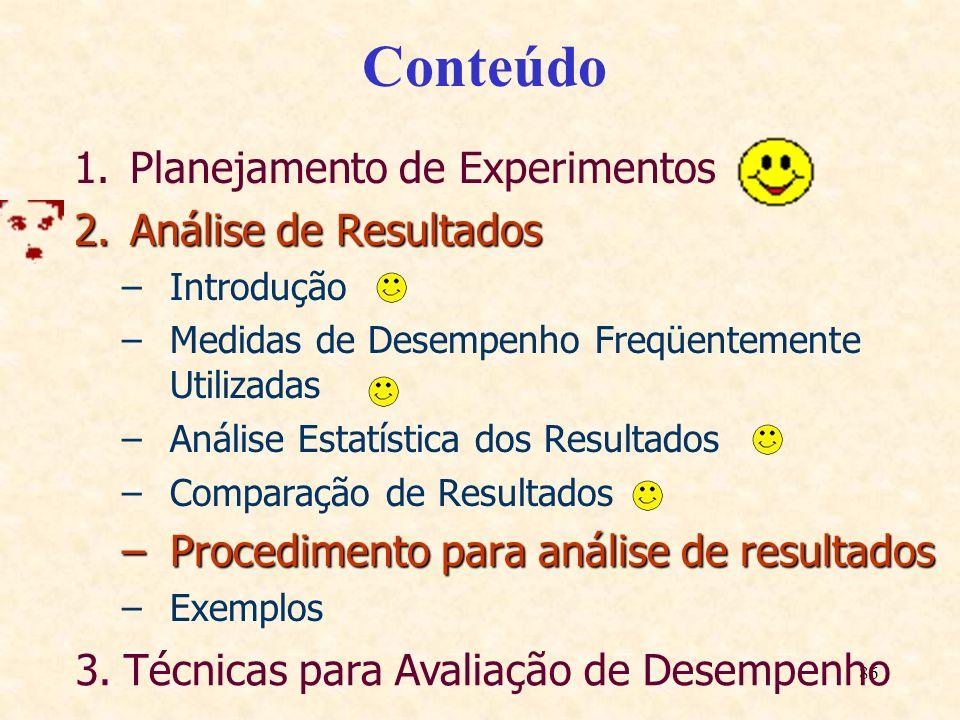 86 Conteúdo 1.Planejamento de Experimentos 2.Análise de Resultados –Introdução –Medidas de Desempenho Freqüentemente Utilizadas –Análise Estatística d