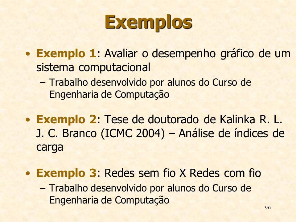 96 Exemplos Exemplo 1: Avaliar o desempenho gráfico de um sistema computacional –Trabalho desenvolvido por alunos do Curso de Engenharia de Computação