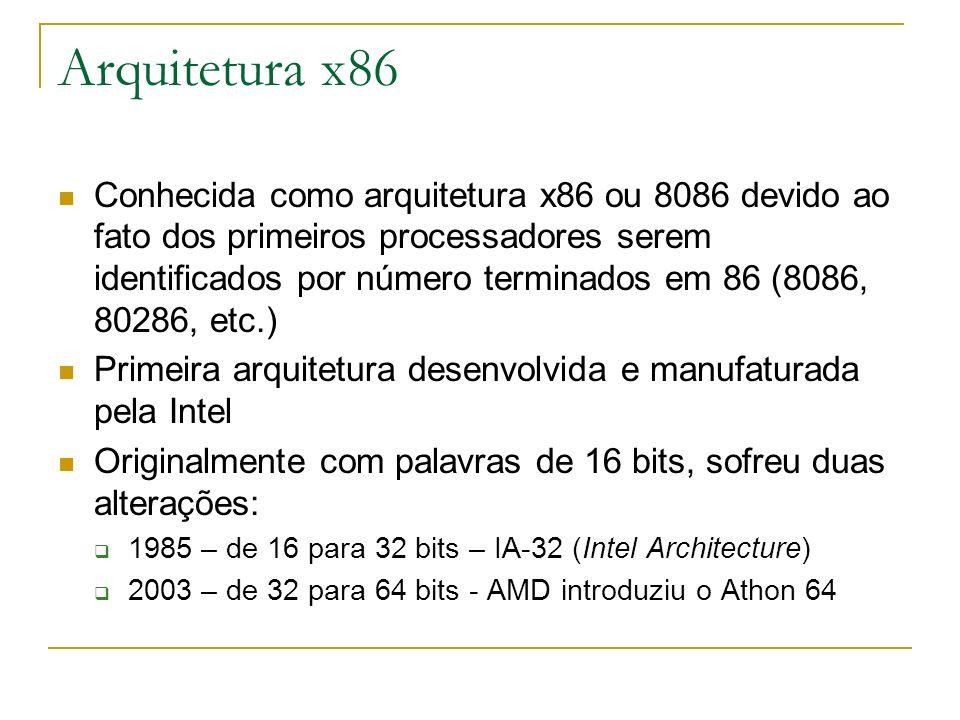 Arquitetura x86 Conhecida como arquitetura x86 ou 8086 devido ao fato dos primeiros processadores serem identificados por número terminados em 86 (808