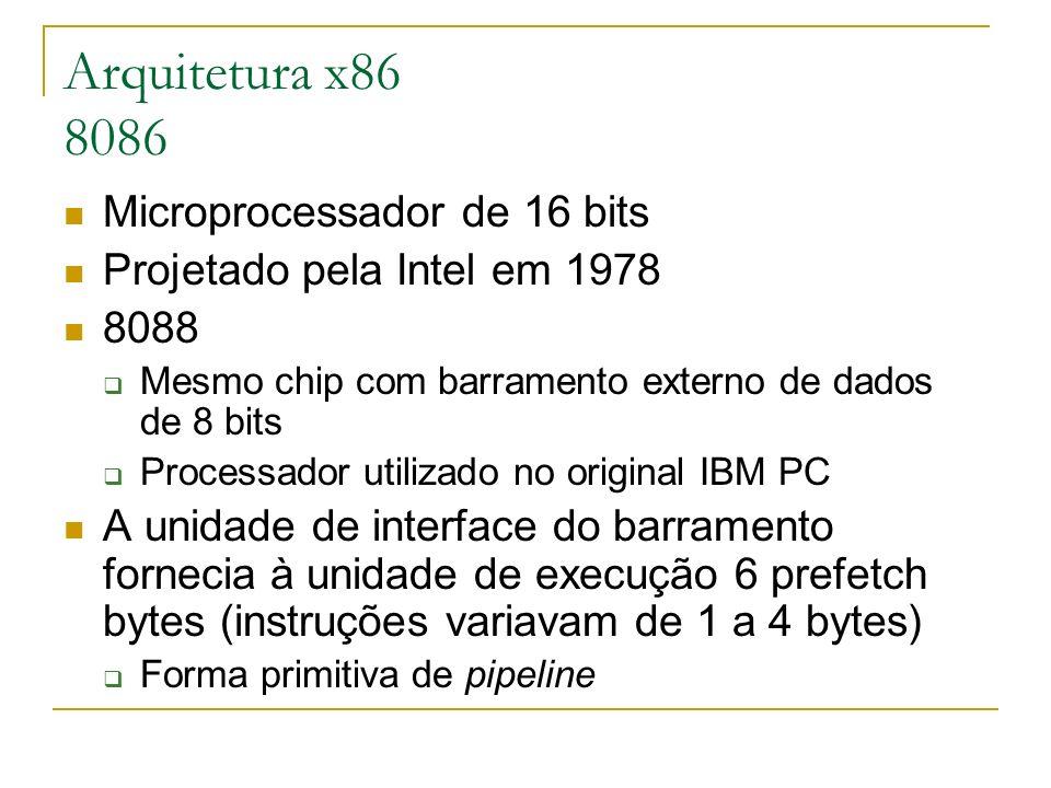 Arquitetura x86 8086 Microprocessador de 16 bits Projetado pela Intel em 1978 8088 Mesmo chip com barramento externo de dados de 8 bits Processador ut