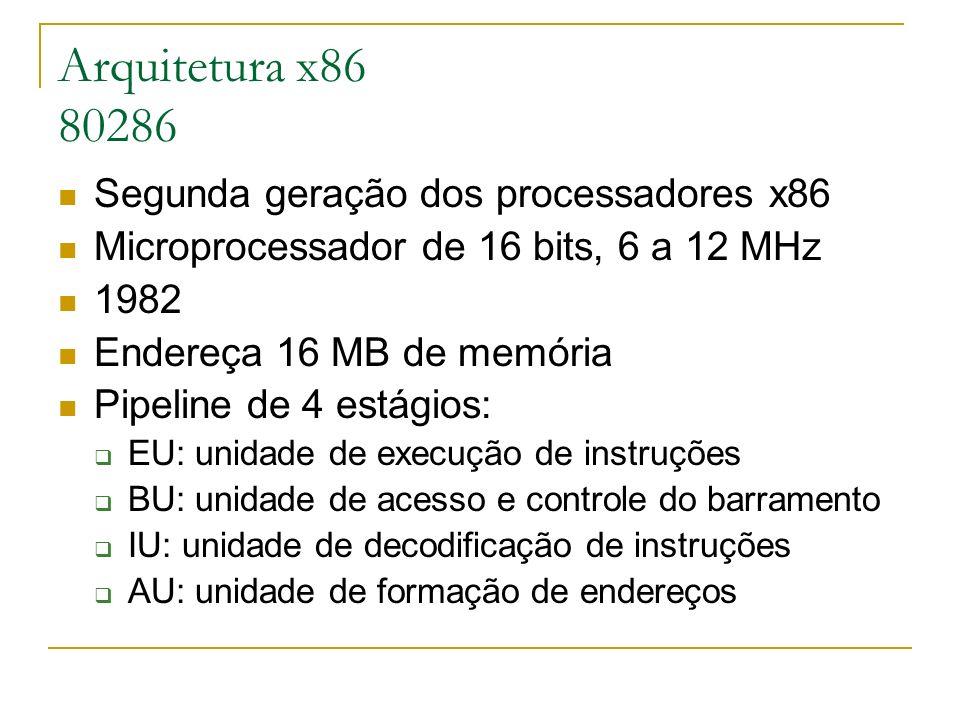 Arquitetura x86 80286 Segunda geração dos processadores x86 Microprocessador de 16 bits, 6 a 12 MHz 1982 Endereça 16 MB de memória Pipeline de 4 estág