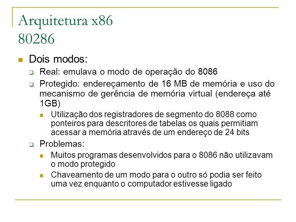 Arquitetura x86 80286 Dois modos: Real: emulava o modo de operação do 8086 Protegido: endereçamento de 16 MB de memória e uso do mecanismo de gerência