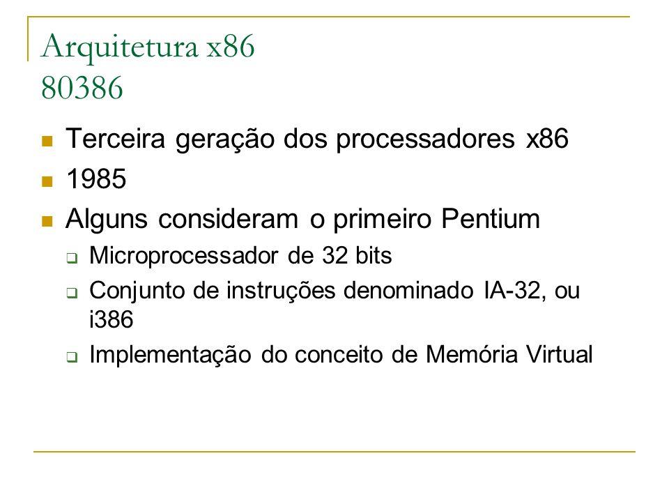 Arquitetura x86 80386 Terceira geração dos processadores x86 1985 Alguns consideram o primeiro Pentium Microprocessador de 32 bits Conjunto de instruç