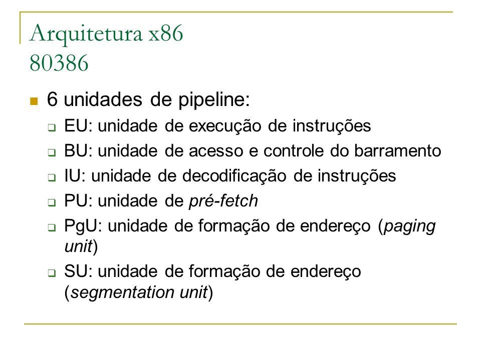 Arquitetura x86 80386 6 unidades de pipeline: EU: unidade de execução de instruções BU: unidade de acesso e controle do barramento IU: unidade de deco
