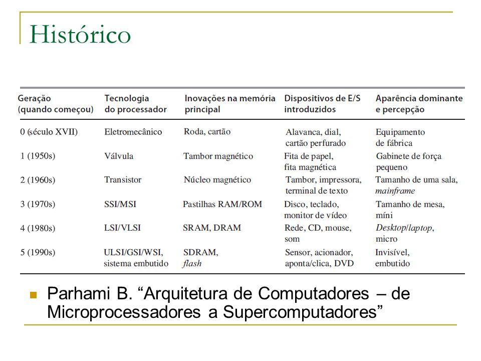 Histórico Parhami B. Arquitetura de Computadores – de Microprocessadores a Supercomputadores