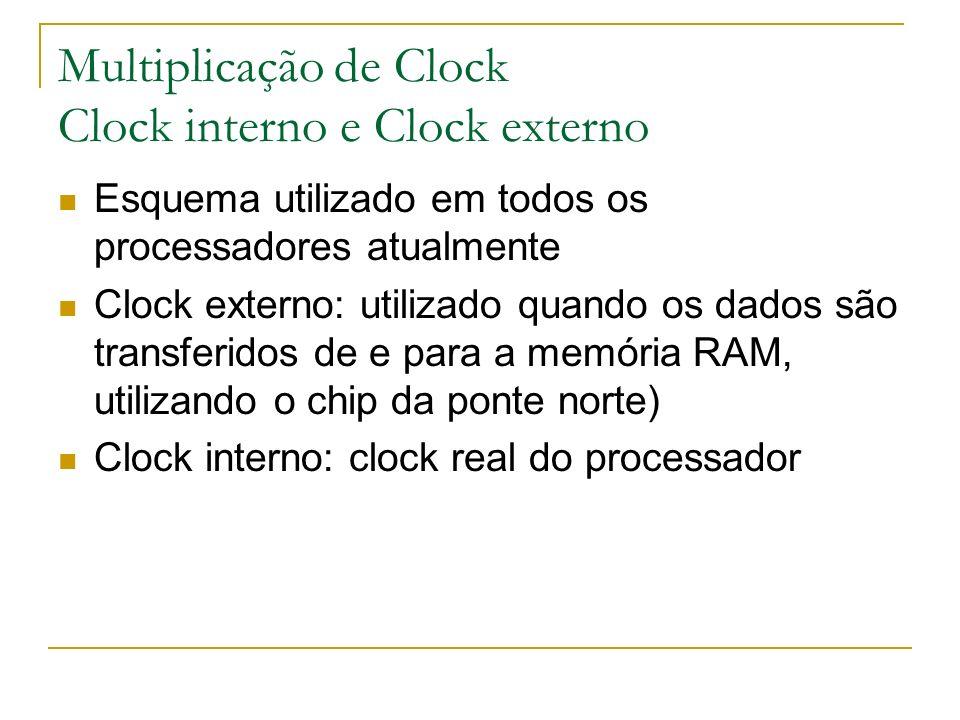 Multiplicação de Clock Clock interno e Clock externo Esquema utilizado em todos os processadores atualmente Clock externo: utilizado quando os dados s