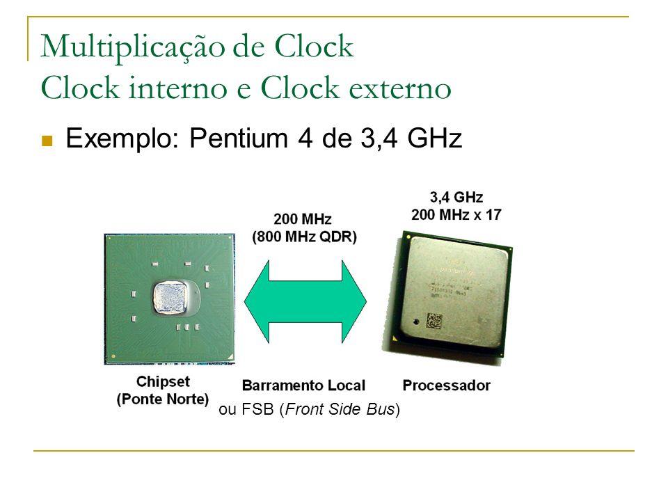 Multiplicação de Clock Clock interno e Clock externo Exemplo: Pentium 4 de 3,4 GHz ou FSB (Front Side Bus)