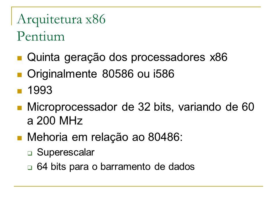 Arquitetura x86 Pentium Quinta geração dos processadores x86 Originalmente 80586 ou i586 1993 Microprocessador de 32 bits, variando de 60 a 200 MHz Me