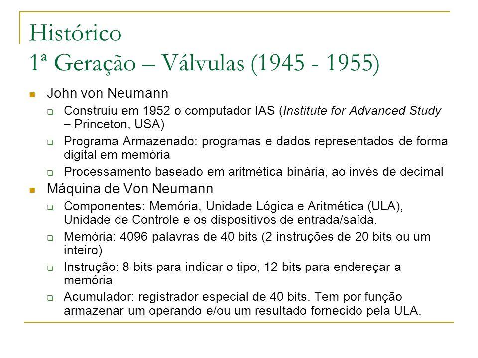 Histórico 1ª Geração – Válvulas (1945 - 1955) John von Neumann Construiu em 1952 o computador IAS (Institute for Advanced Study – Princeton, USA) Prog