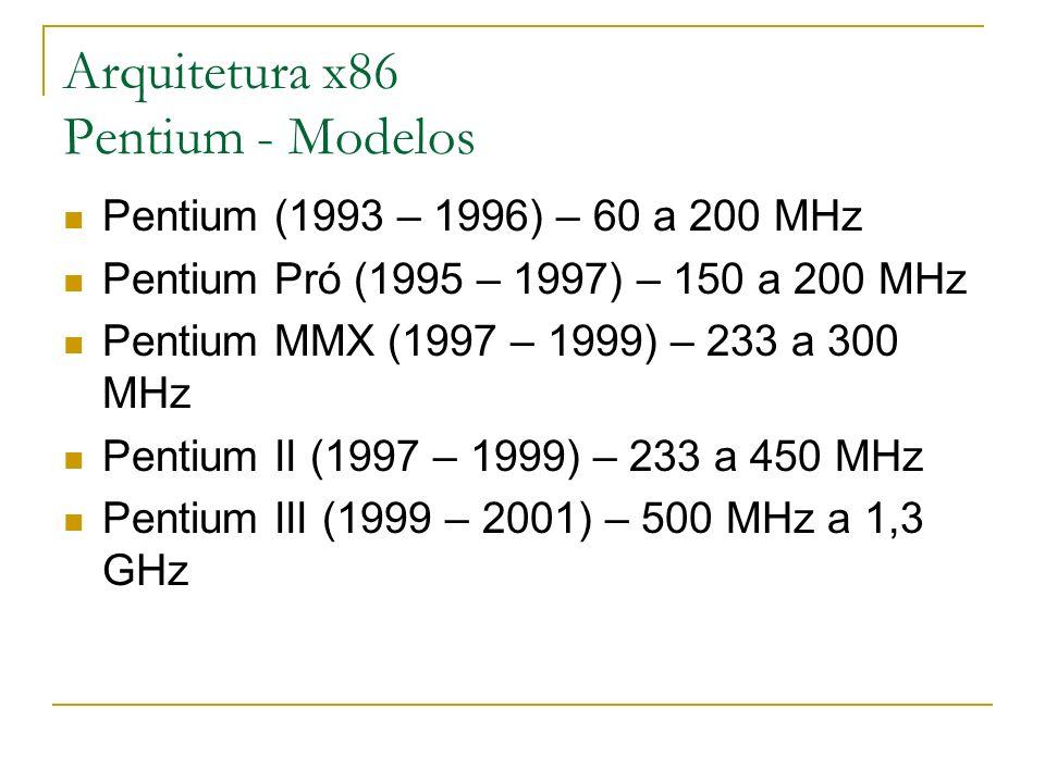 Arquitetura x86 Pentium - Modelos Pentium (1993 – 1996) – 60 a 200 MHz Pentium Pró (1995 – 1997) – 150 a 200 MHz Pentium MMX (1997 – 1999) – 233 a 300