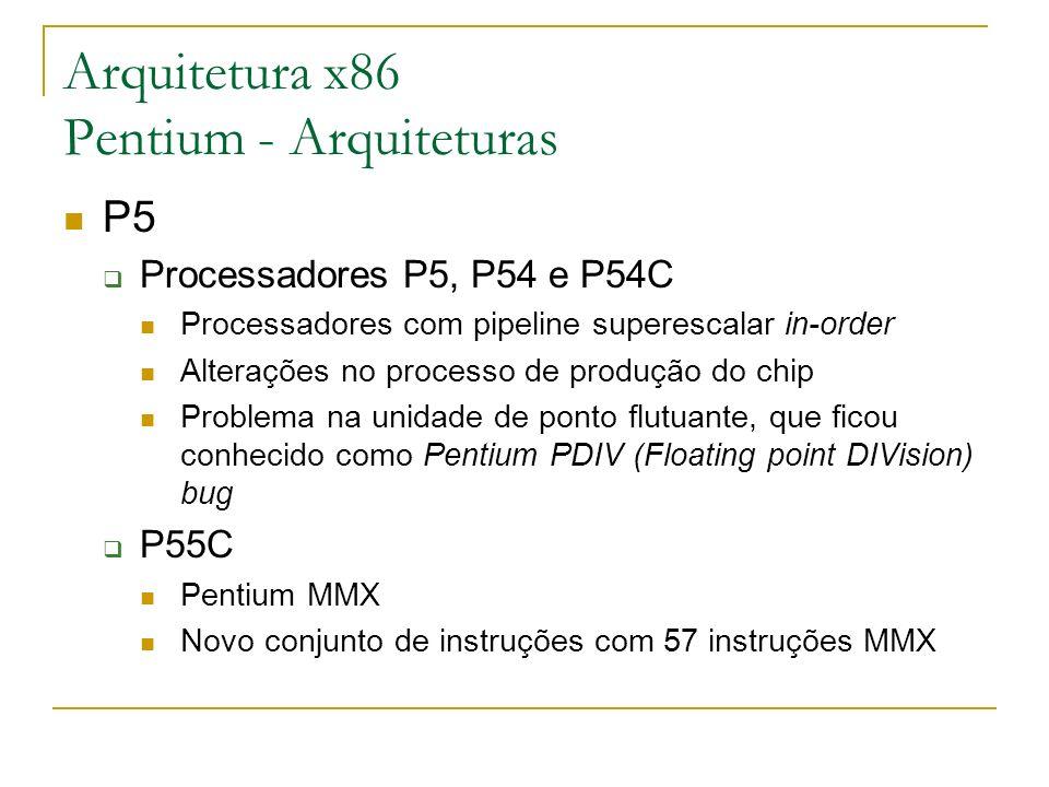 Arquitetura x86 Pentium - Arquiteturas P5 Processadores P5, P54 e P54C Processadores com pipeline superescalar in-order Alterações no processo de prod