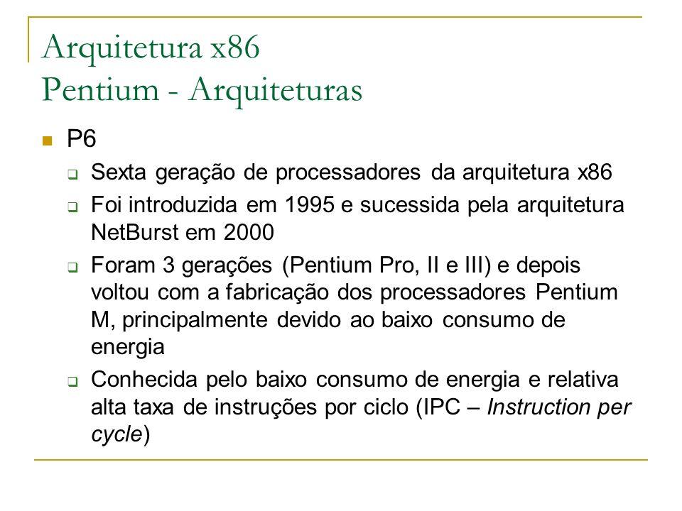 Arquitetura x86 Pentium - Arquiteturas P6 Sexta geração de processadores da arquitetura x86 Foi introduzida em 1995 e sucessida pela arquitetura NetBu