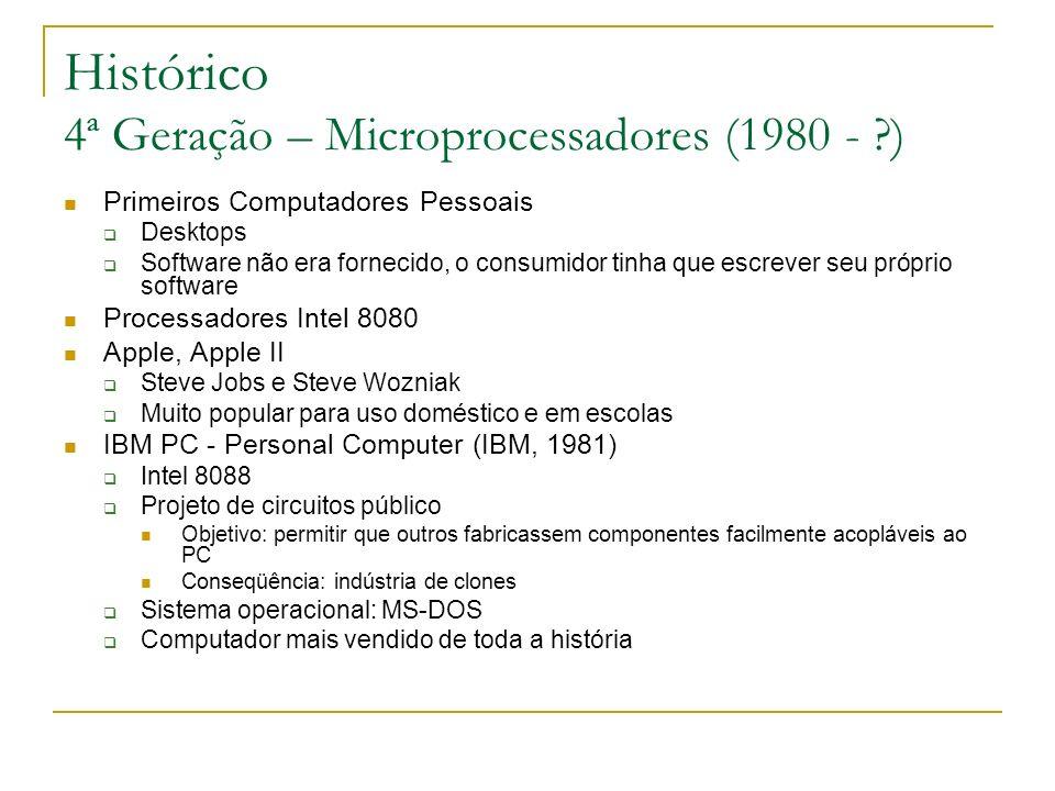 Histórico 4ª Geração – Microprocessadores (1980 - ?) Primeiros Computadores Pessoais Desktops Software não era fornecido, o consumidor tinha que escre