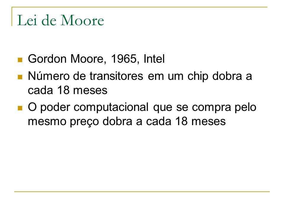 Lei de Moore Gordon Moore, 1965, Intel Número de transitores em um chip dobra a cada 18 meses O poder computacional que se compra pelo mesmo preço dob