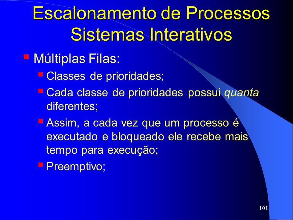 101 Escalonamento de Processos Sistemas Interativos Múltiplas Filas: Classes de prioridades; Cada classe de prioridades possui quanta diferentes; Assi