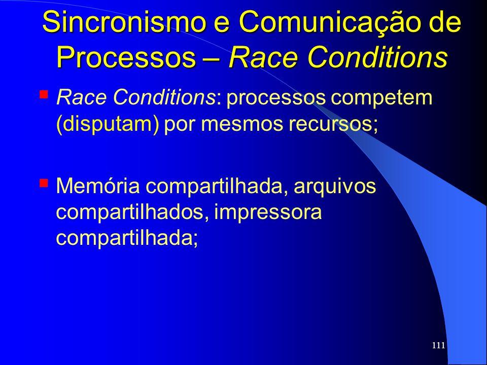 111 Sincronismo e Comunicação de Processos – Race Conditions Race Conditions: processos competem (disputam) por mesmos recursos; Memória compartilhada