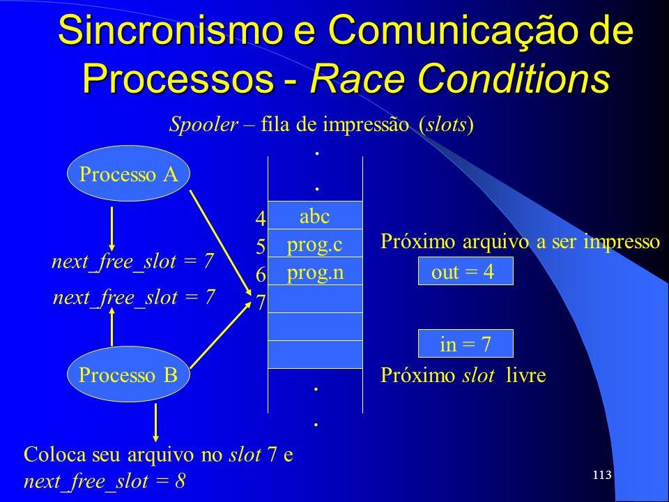 113 Sincronismo e Comunicação de Processos - Race Conditions abc prog.c prog.n 4 5 6 7........ Processo A Processo B in = 7 out = 4 Próximo slot livre