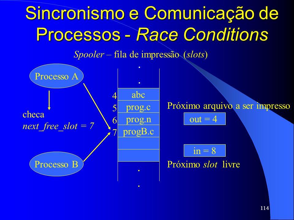 114 Sincronismo e Comunicação de Processos - Race Conditions abc prog.c prog.n progB.c in = 8 out = 4 4 5 6 7........ Processo A Processo B Próximo sl