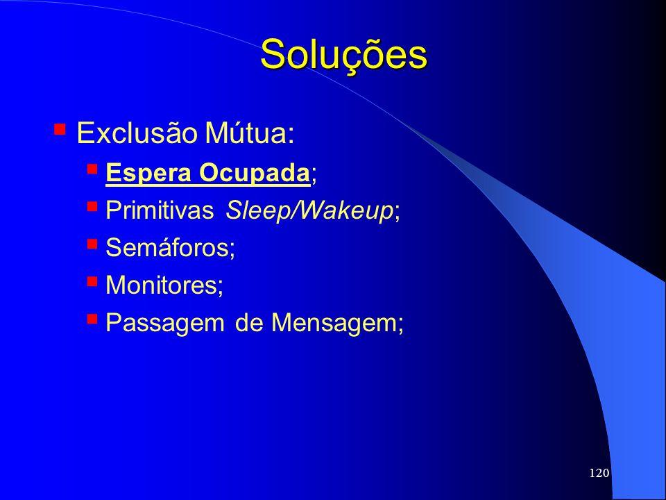 120 Soluções Exclusão Mútua: Espera Ocupada; Primitivas Sleep/Wakeup; Semáforos; Monitores; Passagem de Mensagem;
