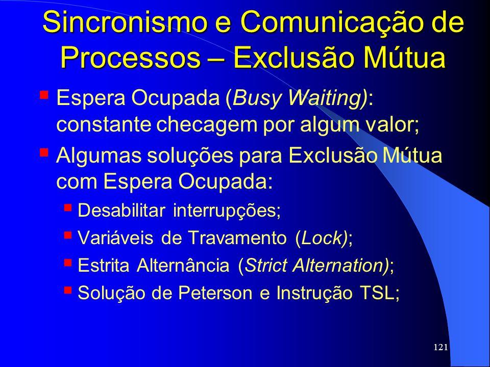 121 Sincronismo e Comunicação de Processos – Exclusão Mútua Espera Ocupada (Busy Waiting): constante checagem por algum valor; Algumas soluções para E