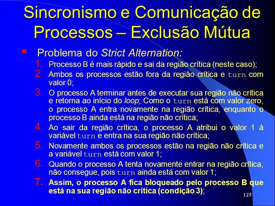 125 Sincronismo e Comunicação de Processos – Exclusão Mútua Problema do Strict Alternation: 1. Processo B é mais rápido e sai da região crítica (neste