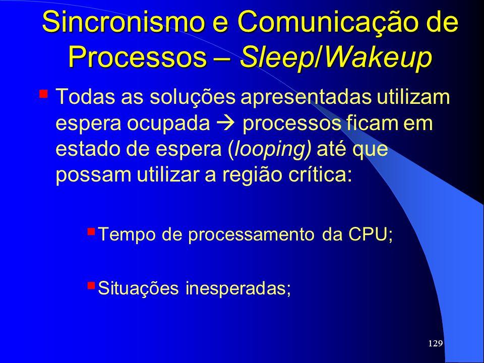 129 Sincronismo e Comunicação de Processos – Sleep/Wakeup Todas as soluções apresentadas utilizam espera ocupada processos ficam em estado de espera (