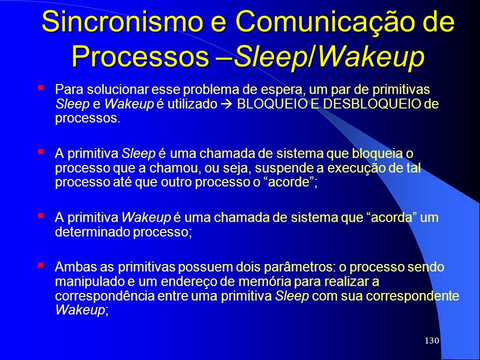 130 Sincronismo e Comunicação de Processos –Sleep/Wakeup Para solucionar esse problema de espera, um par de primitivas Sleep e Wakeup é utilizado BLOQ