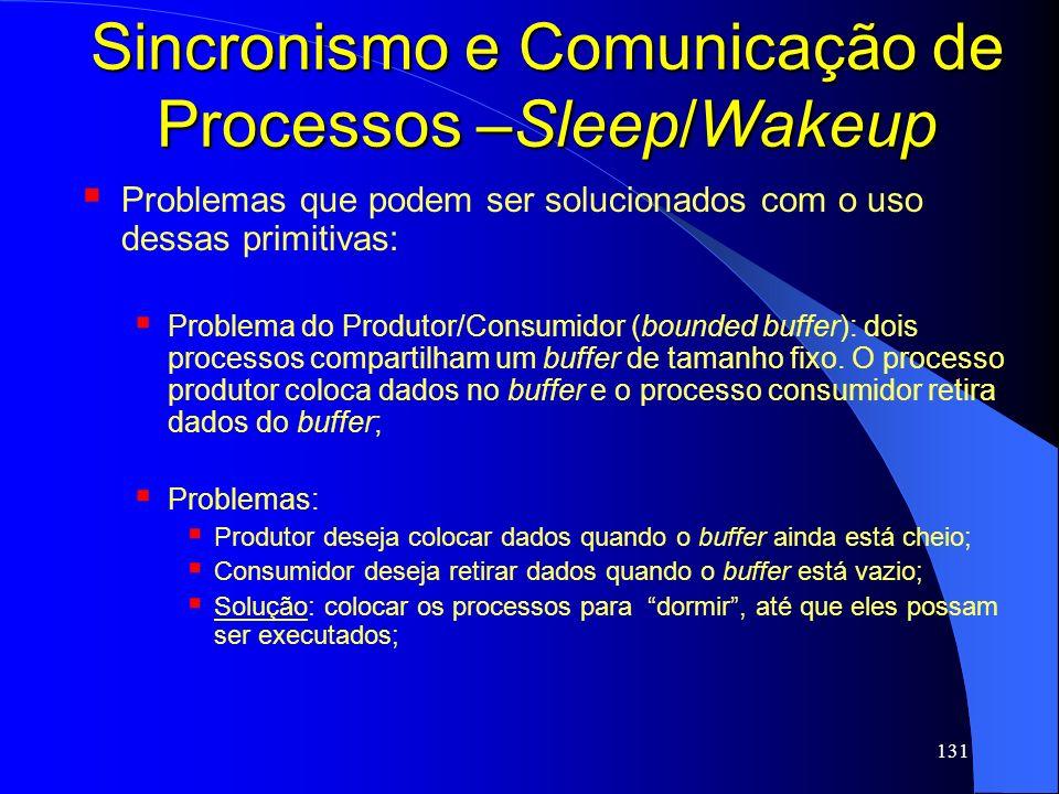 131 Sincronismo e Comunicação de Processos –Sleep/Wakeup Problemas que podem ser solucionados com o uso dessas primitivas: Problema do Produtor/Consum